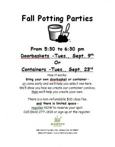 Fall Potting Parties Flyer 2014
