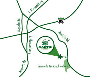 Map to Martin Nursery Greenville SC